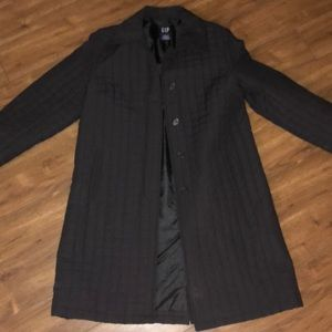 Gap quilted trench coat black small EUC lined